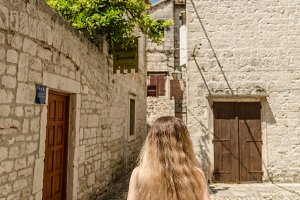 Girl on the streets of Trogir