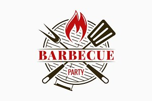 Barbecue grill logo. Bbq party.