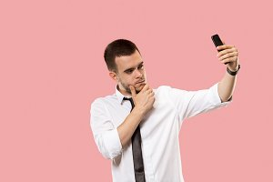 Handsome businessman with mobile