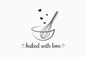 Baking with wire whisk logo on white