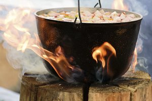 Cooking in cauldron on Finnish