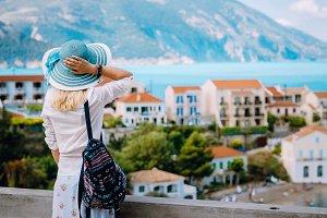 Tourist woman admiring view of