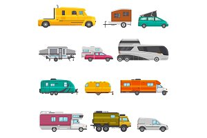 Caravan vector camping trailer and