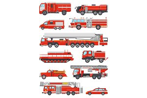 Fire engine vector firefighting