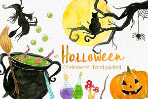 watercolor halloween clipart