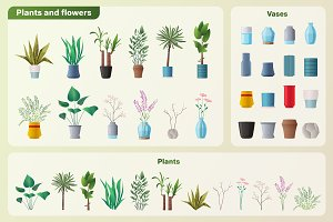 Set of cartoon plants and flowers