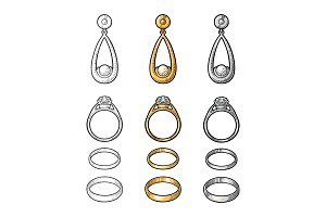 Gold and platinum rings with diamond
