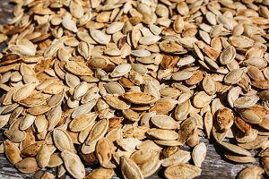 Pumpkin seeds rustic background