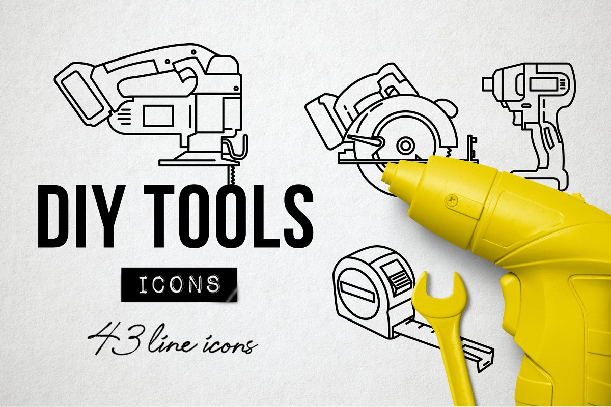 43 DIY Hand Tools Icons - Makerspace