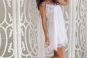 girl in a white negligee