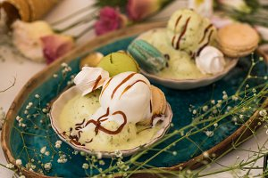 Vanilla and pistachio ice cream
