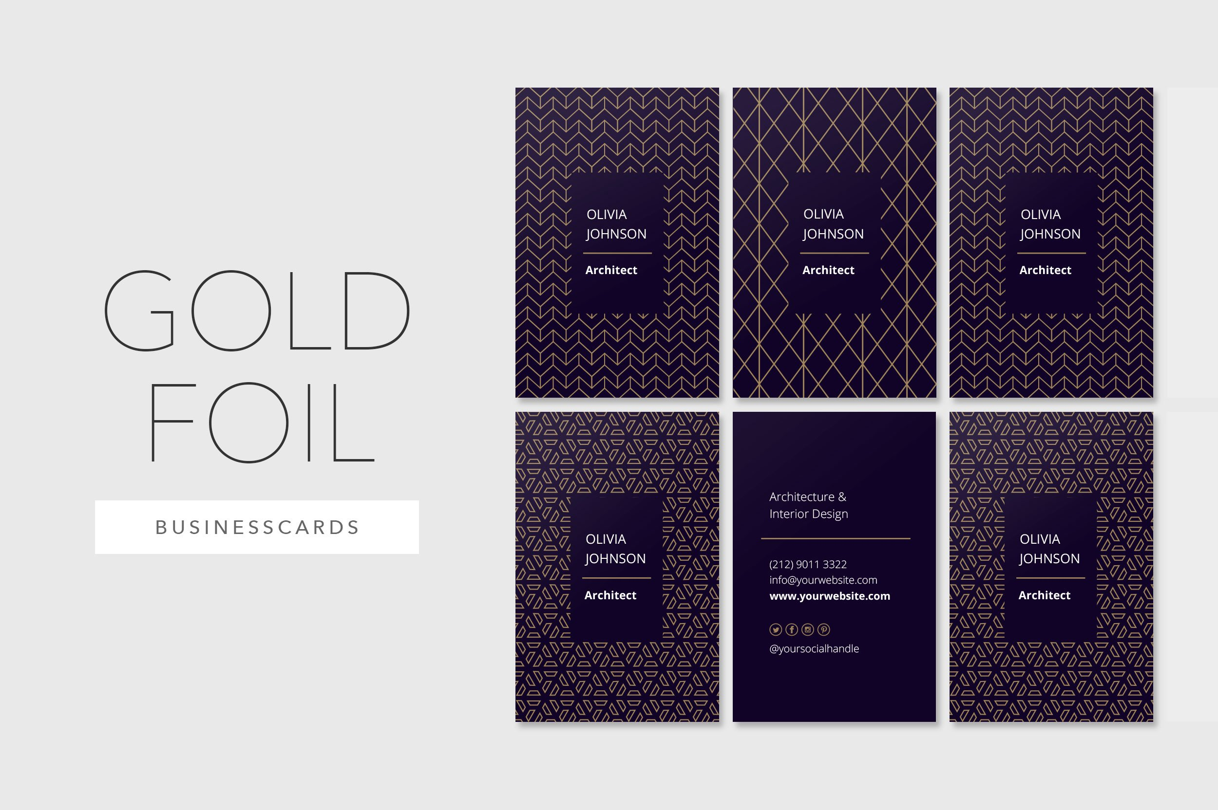 Gold foil business cards business card templates creative market colourmoves