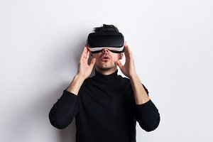 Portrait of a young man with virtual