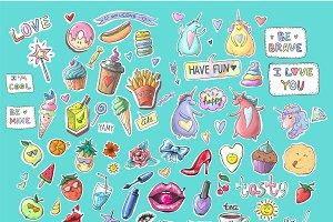 Cute fashion patch badges bundle