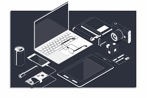 Isometric concept of workplace with