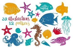 Exotic Underwater Creatures Drawings