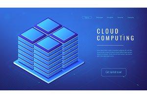 Isometric server farm cloud