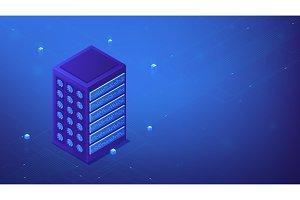 Isometric server farm concept.