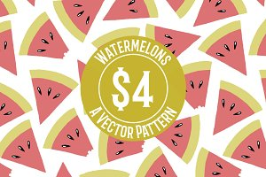 Watermelon Hand-drawn Repeat Pattern