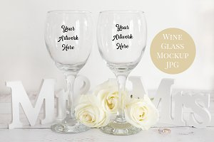 Wine Glasses Wedding Mockup Photo