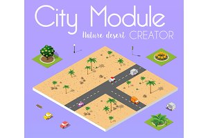 Isometric view of desert with road