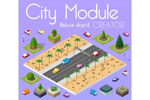 Isometric view high-speed highway