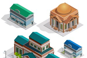 Bank and museum isometric icons