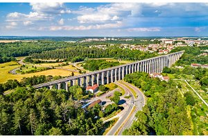 Aerial view of Chaumont Viaduct, a