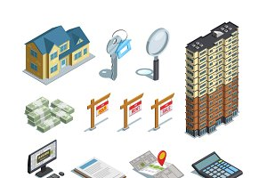 Real estate isometric icons set