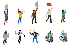 Protest people isometric icons set