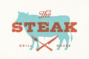 Steak, cow. Poster for grill house