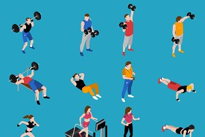 Gym and training isometric icons set