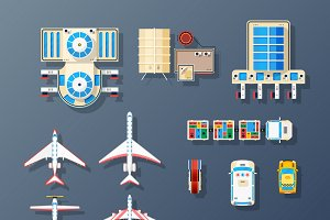 Airport elements top view set