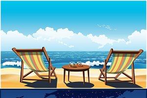 Deck chairs on the beach mini Set
