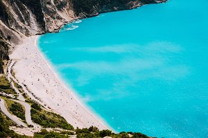 Famous Myrtos Beach with blue water
