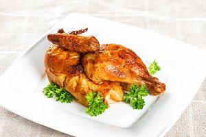 Grilled chicken parsley herb decorat