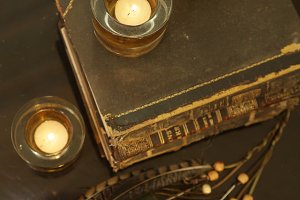 Feathers, Candle, Old Book