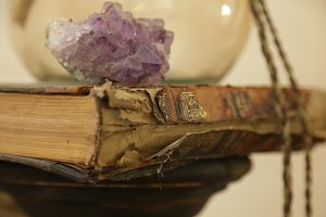 Old Book and gemstone