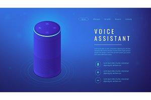 Isometric voice assistant landing