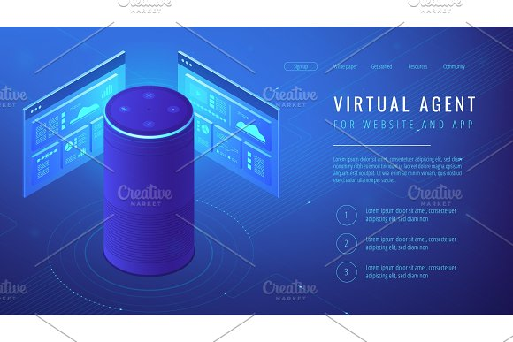 Isometric virtual agent landing page