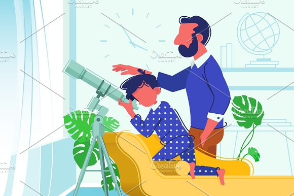 Father and son look at telescope in Illustrations