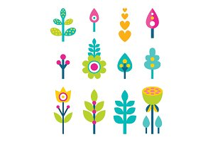 Flowers and Leaves Collection Vector