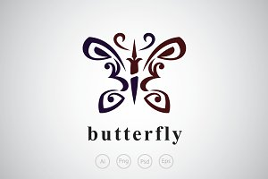 Umbrella Butterfly Logo Template