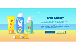 Sun Safety Banner Depicting
