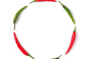 Circle of green and red hot pepper