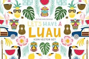 Tropical Luau Digital Illustrations