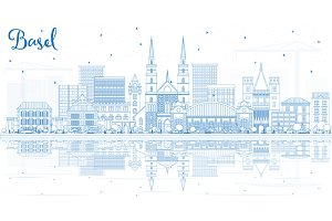 Outline Basel Switzerland City