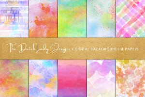 Watercolor Rainbow Scrapbook Papers