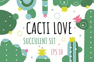Cacti and succulents. Lovely set!