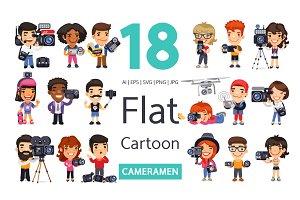 Cameramen Flat Cartoon Characters